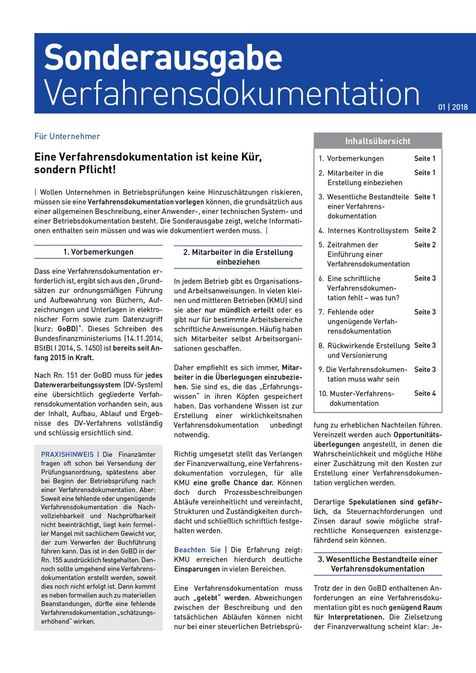 MRQ Sonderausgabe Verfahrensdokumentation Weitkamp Hirsch Steuerberatungsgesellschaft mbH
