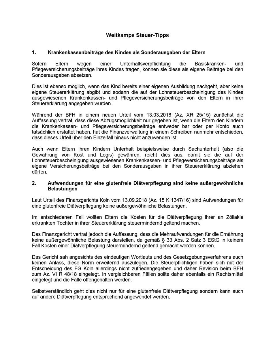 Steuertipps 2020 08 Weitkamp Hirsch Steuerberatungsgesellschaft mbH